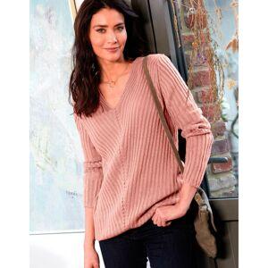 "Blancheporte Žebrovaný pulovr s výstřihem do ""V"" růžové dřevo 42/44"