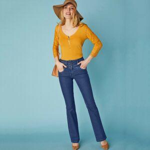 Blancheporte Džínové kalhoty s výšivkou, menší postava tmavě modrá 36