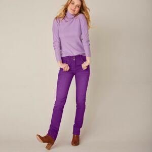 Blancheporte Rovné strečové džíny, barevné švestková 50