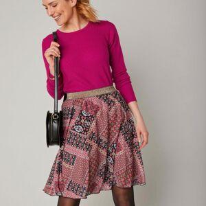 Blancheporte Krátká rozšířená sukně s patchwork potiskem černá/terakota 50