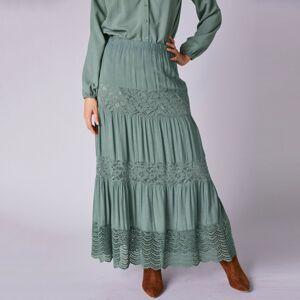Blancheporte Dlouhá sukně s macramé zelenkavá 50