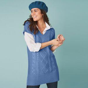 Blancheporte Tunikový pulovr s krátkými rukávy modrošedá 52