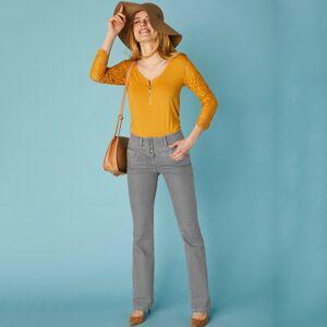 Blancheporte Džínové kalhoty s výšivkou, menší postava šedá 42