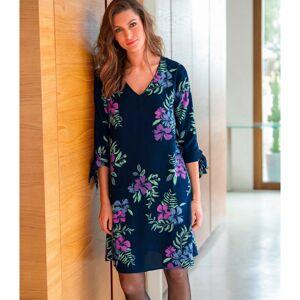 Blancheporte Rozšířené šaty s potiskem a kontrastním lemem nám.modrá/purpurová 52