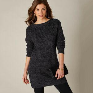 Blancheporte Tunikový pulovr s knoflíky černá 54