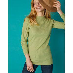 Blancheporte Žebrovaný pulovr se stojáčkem, délka cca 72 cm zelenkavá 34/36