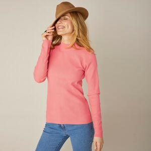 Blancheporte Žebrovaný pulovr se stojáčkem, délka cca 63 cm korálová 54