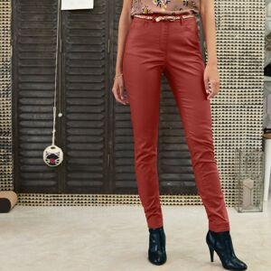Blancheporte Koženkové kalhoty v úzkém střihu tomatová 44