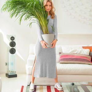Blancheporte Žebrované dlouhé šaty šedý melír 52