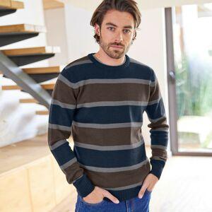 Blancheporte Pruhovaný pulovr s příměsí vlny kaštanová/nám.modrá 87/96 (M)