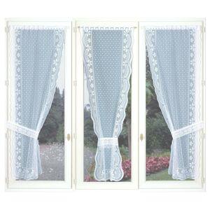 Blancheporte Trojdílná jednobarevná krajková záclona s vlnkovaným zakončením bílá 60x220cm