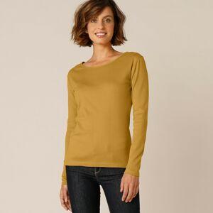 Blancheporte Jednobarevné tričko s dlouhými rukávy, bio bavlna kari 46/48