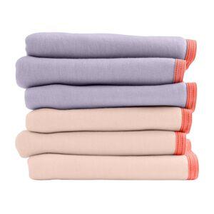 Blancheporte Sada 6 kalhotek midi z bio bavlny lila+pudrová 46/48