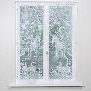Blancheporte Vitrážové záclonky, kůň a labutě, sada 2 ks bílá 60x220cm