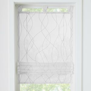 Blancheporte Vytahovací záclonka s motivem vlnek bílá/šedá 60x120cm