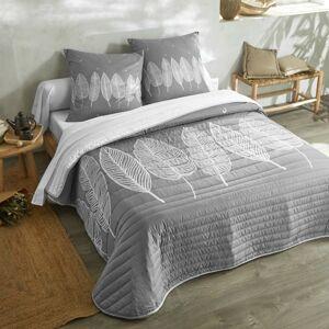 Blancheporte Prošívaný přehoz na postel s potiskem listů šedá povlak na polštář 65x65cm