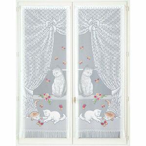 Blancheporte Vitrážová záclonka Kočky a Motýlci, 1 pár barevný potisk 60x220cm
