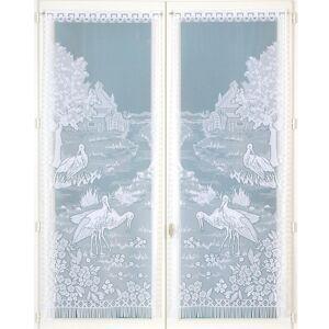 Blancheporte Dvojdílná vitrážová záclona s motivem labutí bílá 60x120cm