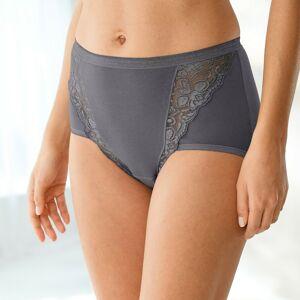 Blancheporte Kalhotky super maxi z krajky, sada 3 ks antracitová+okrová+fuchsie 54/56