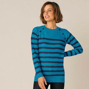 Blancheporte Pruhovaný pulovr s knoflíky modrá/nám.modrá 50