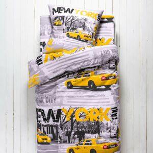 Blancheporte Dětské povlečení Drive, polybavlna, potisk NY taxi šedá napínací prostěradlo 90x190cm