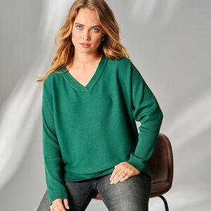 Blancheporte Žebrovaný pulovr smaragdová 52