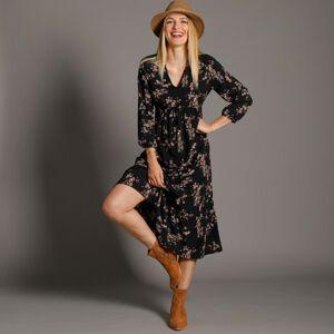Blancheporte Dlouhé šaty s potiskem, černé černá/růžová pudrová 46
