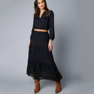 Blancheporte Krajková dlouhá sukně s pružným pasem černá 44
