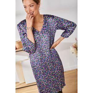 Blancheporte Krátké saténové šaty s potiskem a plisováním černá/lila 44