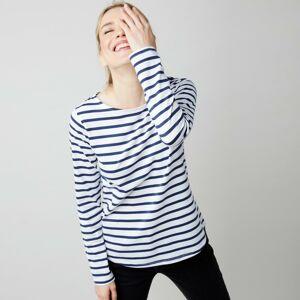 Blancheporte Pruhované tričko s uvolněným výstřihem bílá/nám.modrá 50
