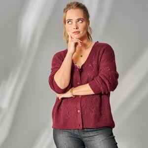 Blancheporte Pulovr-svetr z perleťového úpletu bordó 54