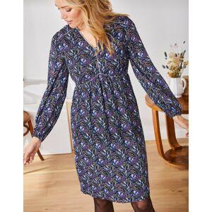Blancheporte Šaty s potiskem a halenkovými rukávy černá/fialová 44