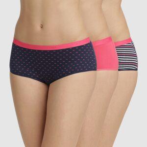 Blancheporte Sada 3 boxerek Les Pockets, s potiskem a jednobarevné růžové růžová 44/46