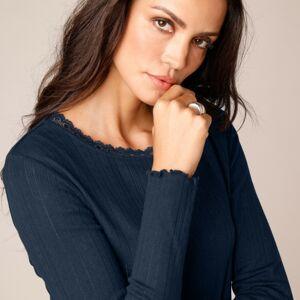 Blancheporte Žebrované tričko s ažurovým vzorem nám.modrá 54