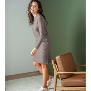 Blancheporte Meltonové mikinové šaty s dlouhými rukávy hnědošedá 50