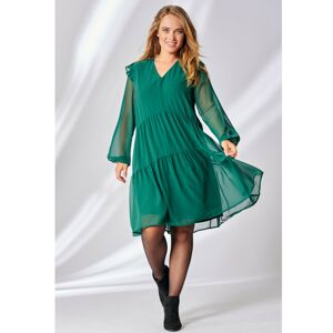Blancheporte Jednobarevné volánové šaty smaragdová 54