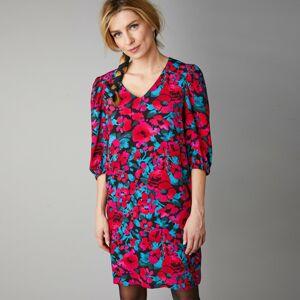 Blancheporte Krátké šaty s potiskem květin a zdůrazněním ramen černá/fuchsie 48
