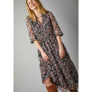 Blancheporte Polodlouhé šaty s volány a potiskem květin černá/šedorůžová 46