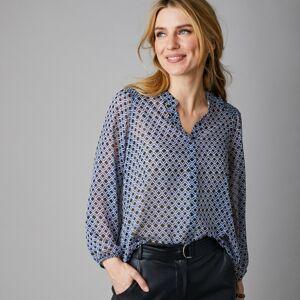 Blancheporte Šifonová košile s detaily žabičkování černá/modrá 44