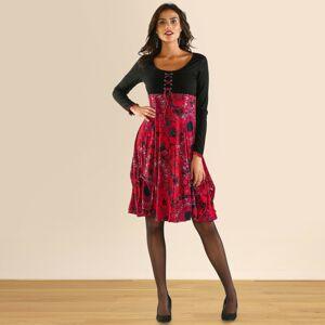 Blancheporte Šaty s potiskem a dlouhými rukávy černá/červená 34/36