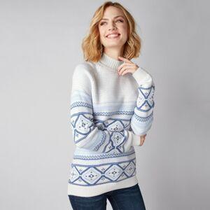 Blancheporte Žakárový pulovr se stojáčkem modrá džínová 34/36