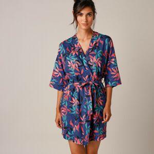 Blancheporte Vzdušný župan s exotickým vzorem, kimono střih břidlicová 50
