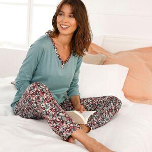 Blancheporte Pyžamo s dlouhými rukávy a potiskem květin modrošedá 34/36