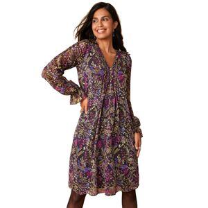 Blancheporte Šaty s potiskem a sklady fialová/purpurová 50