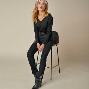 Blancheporte Rovné strečové džíny s výšivkou květin tmavě modrá 48