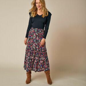 Blancheporte Dlouhá sukně s potiskem květin černá/červená 50