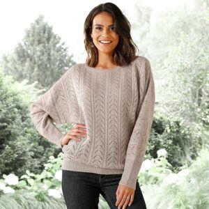 Blancheporte Halenkový pulovr s ažurovým vzorem hnědošedá 34/36
